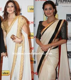 Sonali Bendre and Dia Mirza in Abu Sandeep and Anamika Khanna respectively