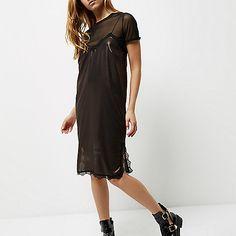 Brons-metallic midi-slipdress met kant - cami jurken - jurken - dames