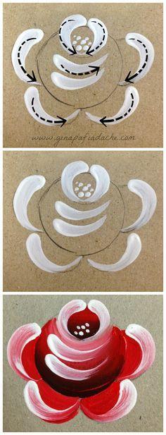 Atelier Gina Pafiadache: Treinando as pinceladas de uma Rosa em Bauernmalerei