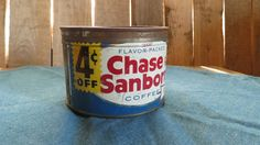 Chase and Sanborn Coffee TIn, Vintage, Coupon, Farmhouse, Country Kitchen by RileysVintageRelics on Etsy