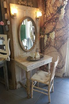 Vanity made from an old door. I'm so doing this.