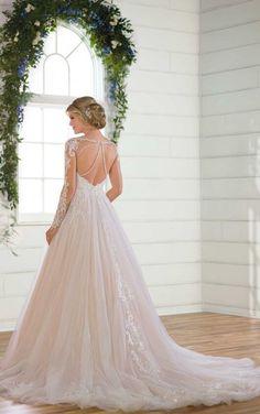 D2532 Modern Long-Sleeved Ballgown Wedding Dress by Essense of Australia