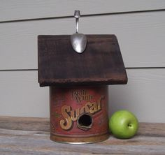 Vintage Sugar Canister Birdhouse Whimsical Birdhouse by Milepost7, $35.00