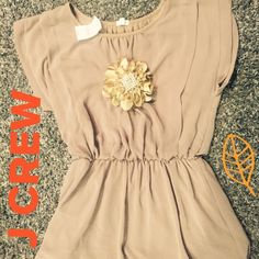 Beautiful J CREW blouse Size medium taupe blouse with flower detail fully lined in cotton and chiffon outer layer pleated front with cinched waist J. Crew Tops Blouses
