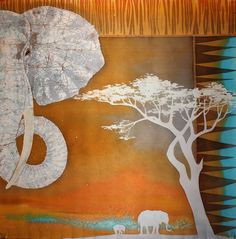 Elephant hand painted silk scarf/African shawl/Batik от HotBatik