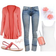 """Coral & Denim Spring Outfit"" would be cute with a sparkle tank top"