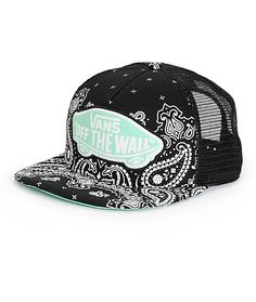 Finish off any look with this black bandana print trucker hat that features a contrast mint underside of the bill and Vans Off The Wall logo patch at the front.