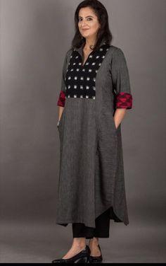 Cotton linen kurti simple and sober latestwomenswear Churidar Designs, Kurta Designs Women, Latest Kurti Designs, Dress Neck Designs, Blouse Designs, Indian Designer Outfits, Designer Dresses, Designer Kurtis, Indian Dresses