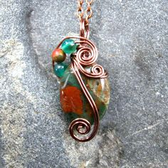 Copper Green Opal Wire Wrapped Pendant Necklace in Antique Copper by CareMoreCreations.com, $29.00