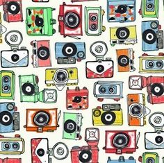 Cameras Retro Camera Cotton Fabric from the Vacation Collection by Makower Retro Camera, Photography Themes, Patchwork Fabric, Quilting Fabric, Fabric Remnants, Liberty Fabric, Disney Winnie The Pooh, Fabulous Fabrics, Modern Fabric