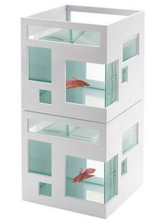 The Umbra Fish Hotel Aquarium is designed so that your small fish can live in a modern home just like you do. The Umbra FishHotel is a beautifully designed, modern aquarium that is stackable to for… Mini Aquarium, Glass Aquarium, By Lassen, Cool Fish, Beta Fish, Fish Fish, Dot And Bo, Betta, Decoration