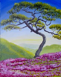 Lone Tree in Spring at Carrabba's Italian Grill (Reston) - Paint Nite Events near reston, VA> Pictures To Draw, Nature Pictures, Landscape Art, Landscape Photography, Lone Tree, Spring Painting, Nature Drawing, Toddler Art, Tree Forest