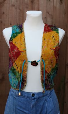 Vintage Tie Dye Batik Indian Waistcoat by PsychicSistersVtg