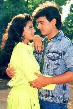 "Cinema ©: Madhuri Dixit and Amir Khan in ""Dil"" (Hindi; Bollywood Photos, Bollywood Stars, Bollywood Fashion, Bollywood Actress, Girl Couple, Aamir Khan, Vintage Bollywood, Amitabh Bachchan, Madhuri Dixit"