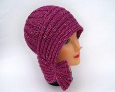 Knit Cloche  Plum Tweed Hat  Flapper Style Hat  by BettyMarieJones, $28.00