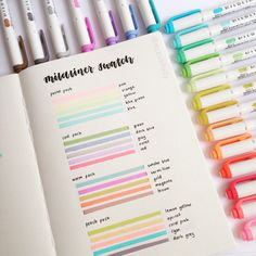 5 Zebra Mildliner Double-Sided Highlighters - Fine - NEW All four packs of Mildliner highlighters swatches by ig Bullet Journal Notes, Bullet Journal Aesthetic, Bullet Journal Ideas Pages, Bullet Journal Inspiration, Bullet Journal Markers, Bullet Journal Materials, Bullet Journal Essentials, Bullet Journal Student, Bullet Journal Layout