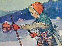 Old illustration of a Norwegian child in traditional Norwegian dress.