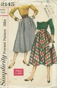 An original ca. 1957 Simplicity Pattern 2145.  Jr. Misses' and Misses' Skirts: Two Graceful, Simple-to-Make styles. V. 1 has soft pleats at upper edge in front and back. It has a side zipper closing, hooks and eyes at waistband and an optional pocket in right side seam. V. 2 has soft pleats in front, optional pocket concealed in right side seam. There is a side zipper closing and hooks and eyes on waistband.