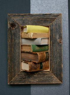 framed books on the wall by framedbooks on Etsy Floating Shelves, Recycling, Illustration Art, Handmade Gifts, Frame, Wall, Books, Etsy, Design
