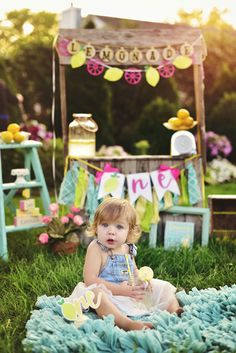 1st Birthday Pictures, First Birthday Themes, Girl First Birthday, Birthday Decorations, First Birthdays, Pink Lemonade Party, Outdoor Birthday, Fruit Party, Lemonade Stands