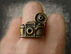 camera ring, photography ring, kitsch ring, unique ring, cute ring, vintage style. $14.00, via Etsy.