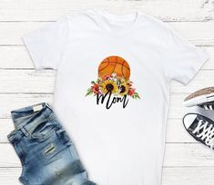 Excited to share this item from my shop: Basketball Mom Sunflower T Shirt - tshirt with saying - basketball mom tee - t-shirt sayings Sports Shirts, Tee Shirts, Tees, Laundry Schedule, Basketball Mom, Sports Mom, T Shirts With Sayings, Etsy Shop, T Shirts For Women