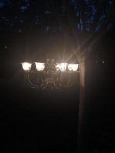 DIY Solar Chandelier - The Shabby Tree Solar Chandelier Outdoor, Diy Chandelier, Chandeliers, Garden Tree House, Fairy Garden Houses, Garden Ideas Under Trees, Landscaping Around Pool, Fairy Lights In Trees, Outside Showers