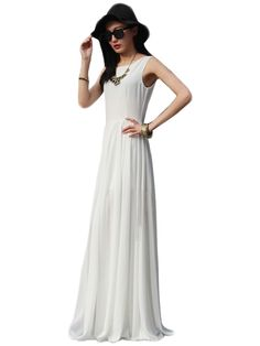 Chiffon Tank O Neck Ruffles Split Long Maxi Dresses