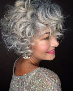 Grey Curly Hair, Gray Hair, Curly Hair Styles, Short Hairstyles For Women, Messy Hairstyles, Grey Hair Over 50, Silver Haired Beauties, Silver White Hair, Beautiful Haircuts