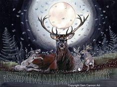 Lovely Creatures, Fantasy Creatures, Sam Cannon, Deer Illustration, Deer Art, Cool Artwork, Amazing Artwork, Wildlife Art, Animal Drawings