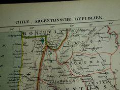 Argentina Antique Map La Plata States Paraguay By Craftissimo - Argentina map vintage