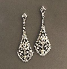 Art Deco Bridal Earrings Wedding Jewelry  Vintage by Lolambridal, $59.00