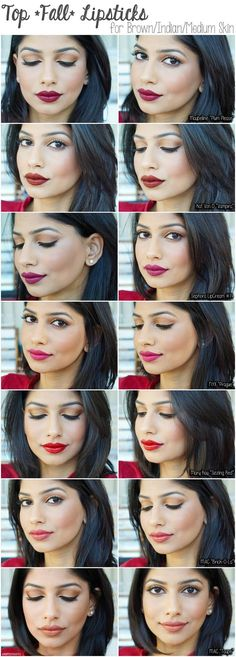 fall lipsticks for brown/medium/indian skin. favorite fall lipsticks for indian skin. MAC Taupe lipstick, MAC Brick O La, Kat von D Vampira