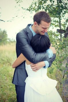 Groom crying for the first time he see's his bride..