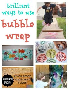 Brilliant bubble wrap crafts, kids' art and kids' games. My boys will LOVE this!!