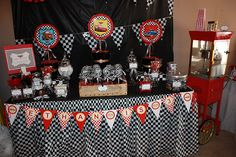 AMAZING cars party. roadmap of pics, candy, piston cup favors, games...