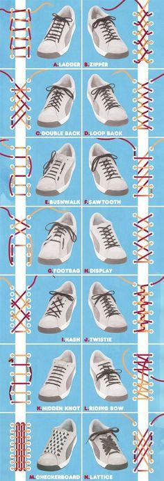Ilustraciones explicando las 14 formas de atarse los cordones de los zapatos