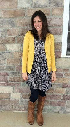 Hippy Boho Tunic Dress, yellow cardigan, brown boots, paisley dress