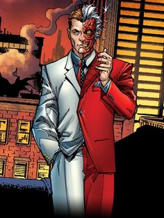 Two-Face was once Harvey Dent, the District Attorney of Gotham City, and a close personal ally of Batman Comic Book Characters, Comic Character, Comic Books, Two Face Batman, Al Ghul, Hq Dc, Comic Villains, Hq Marvel, Comic Art