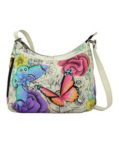 Floral Paradise Hand-Painted Leather Crossbody Bag #zulily #zulilyfinds