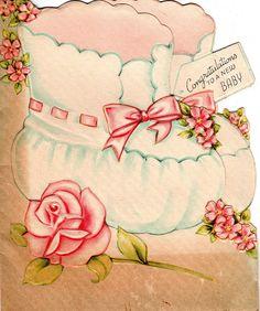 1940's baby card ... booties