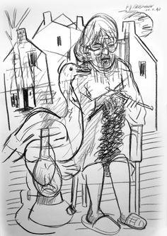 """Stricken"" Drawing by H.-J. BERGMANN"