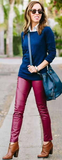 Inspired By Sienna Miller's Burgundy Leather Pants Fall Streetstyle Inspo by Sydne Style