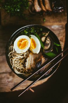 Oriental Soba Noodle Ramen Soup with Slow Roasted Pork