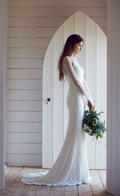 Gorgeous long sleeve beaded wedding gown 'Carina' by Karen Willis Holmes