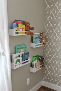 IKEA Spice racks painted white for a library!!