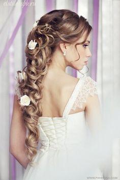 свадебные прически на длинные волосы с цветами спб