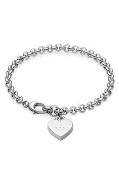 Gucci Silver Heart Charm Bracelet
