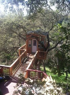 What Started Out As An Ordinary Tree Ended With An Epic Creation (Lots of pictures! / The Green Life Cool Tree Houses, Fairy Houses, Play Houses, Building A Treehouse, Build A Dog House, Backyard Trees, Cabins And Cottages, Treehouse Cottages, Weekend House