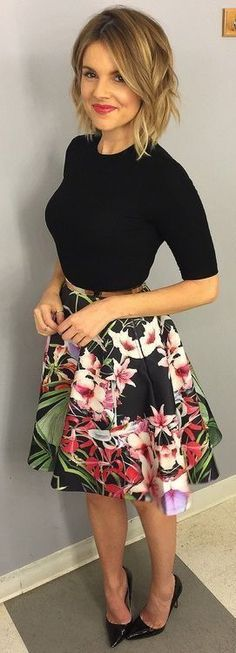 **** Try out Stitch Fix today! I love this gorgeous floral skirt and elbow length black top. Adorable outfit for spring. Work or church. Stitch Fix Spring, Stitch Fix Summer, Stitch Fix Fall 2016 2017. Stitch Fix Spring Summer Fall Fashion. #StitchFix #Affiliate #StitchFixInfluencer